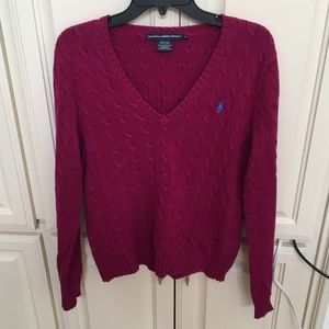 Ralph Lauren Sport V Neck Plum Cable Knit Sweater